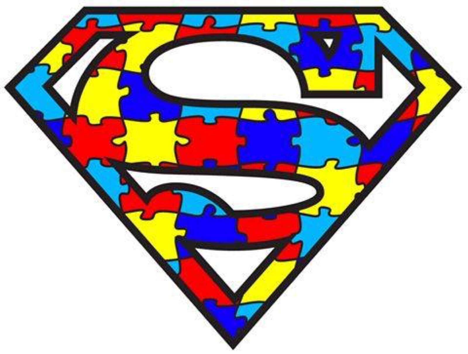 A Superman S made out of multicolred puzzle pieces, a symbol of support for the autistic community